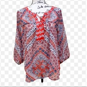 Fig and Flower Floral Print Lace Blouse Sz M
